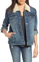 BP Faux Shearling Collar Denim Jacket