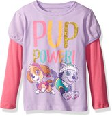 Nickelodeon Paw Patrol Little Girls' Toddler Skye/Everest Pup Power! Toddler L/S 2-fer T-Shirt