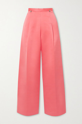 Christopher Kane Pleated Satin Wide-leg Pants - Coral