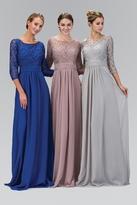 Elizabeth K - Lace Quarter Sleeves A-Line Gown GL1409