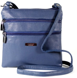 Generic New Womans Leather Style Cross Across Body Shoulder Messenger Bag Zipped (Navy)