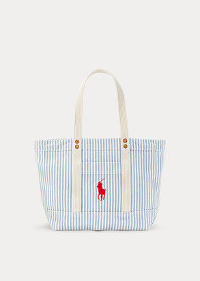 Ralph Lauren Canvas Striped Medium Tote