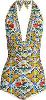 Dolce & Gabbana Majolica-print ruched halterneck swimsuit