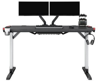 Inbox Zero T Shaped Curved Front Large Gaming Desk