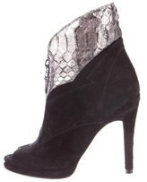 Alexandre Birman Python-Trimmed Peep-Toe Ankle Boots