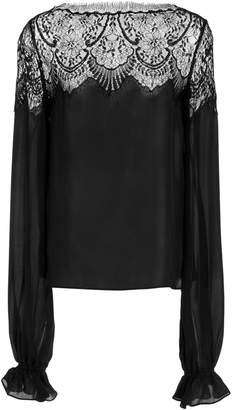 Naeem Khan Chantilly Lace Inset Silk Long Sleeve Blouse