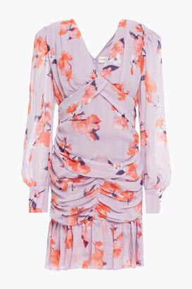Nicholas Ruched Floral-print Silk-georgette Mini Dress