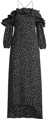 LIKELY Rocky Off-The-Shoulder Polka Dot Midi Dress