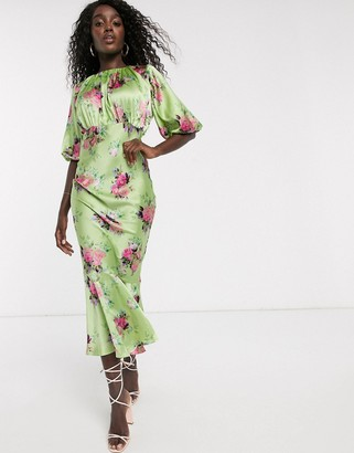Asos DESIGN satin bias midi dress with puff sleeves in bright floral print