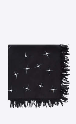 Saint Laurent Squared Scarves Scarf With Shooting Star Print In Black And Ivory Spun Silk Black Onesize