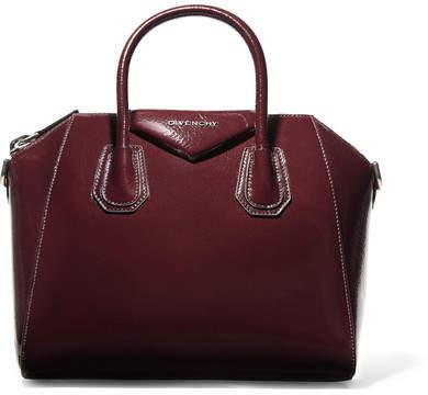 Givenchy Antigona Small Textured Patent-leather Tote - Burgundy