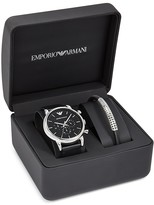 Emporio Armani Leather Strap Watch, 46mm & Bracelet Set