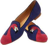 C. Wonder Flamingo Embroidered Suede Loafers-Caroline