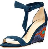 Alexandre Birman Carmen Embroidered Wedge Sandal, Deep Sky