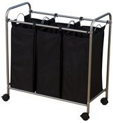 Household Essentials Rolling Triple Sorter Laundry Hamper with Black Polyester Bags, Satin Silver Frame