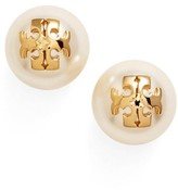 Tory Burch Women's Swarovski Crystal Pearl Logo Stud Earrings