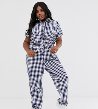 Daisy Street Plus boiler suit with tie waist in gingham-Navy