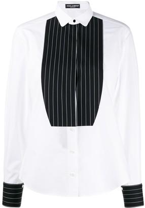 Dolce & Gabbana Contrasting Plastron Tuxedo Shirt
