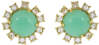 Irene Neuwirth 18kt Yellow Gold Mint Chrysoprase And Diamond Stud Earrings