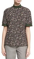 Acne Studios Meike Flecked Camouflage Mock-Neck Top, Red Pattern
