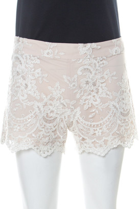 Alice + Olivia Beige Lace & Sequin Shorts S
