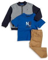 Nautica Baby Boys Zip-Up Sweater, Tee, and Pants Set