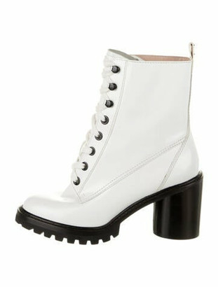 Marc Jacobs Patent Leather Combat Boots White