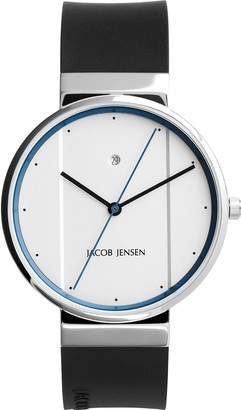 Jacob Jensen Unisex-Adult Analogue Quartz Watch with Rubber Strap JJ770