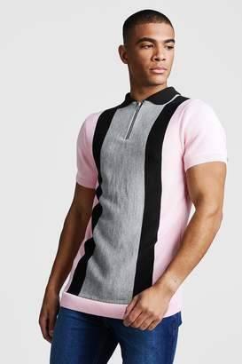 boohoo Muscle Fit Short Sleeve Knitted Polo