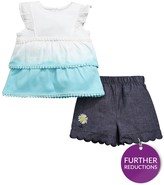 Ladybird Baby Girls Ombre Top And Chambray Short Set