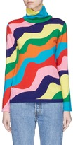 Mira Mikati Rainbow wavy stripe Merino wool turtleneck sweater