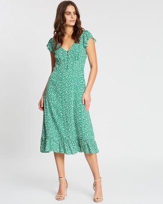 Banana Republic Print V-Neck Midi Dress