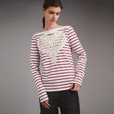 Burberry Unisex Breton Stripe Cotton Top with Lace Appliqué