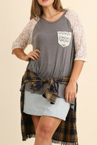 Umgee USA Gray Lace Top