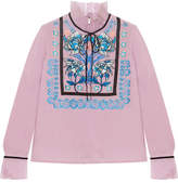 Temperley London Imperium Embroidered Silk-organza Turtleneck Blouse - Pink