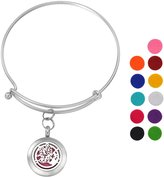 SG Stainless Steel Aromatherapy Essential Oil Diffuser Bracelet with Butterfly Angel,Silver Tone
