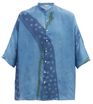 11.11 / Eleven Eleven - Wide-sleeve Floral-print Silk Shirt - Light Blue