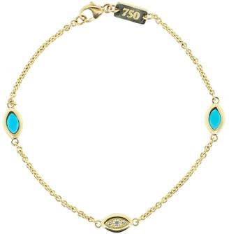 Andy Lif Blue Enamel and Diamond Cats Eye Bracelet