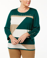 Alfred Dunner Plus Size Emerald Isle Collection Studded Intarsia-Knit Sweater