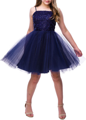 Un Deux Trois Girl's Sequin Tulle Party Dress, Size 7-16