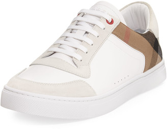 Burberry Men's Reeth Leather & House Check Low-Top Sneakers, White