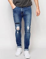 Dr Denim Jeans Leon Slim Tapered Ripped Mid Wash Blue