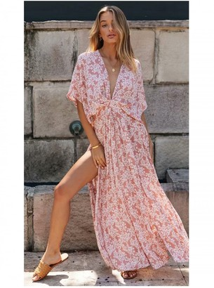 FS Collection V Neck & Back Detail Bohemian Style Maxi Dress In Pink Floral Print