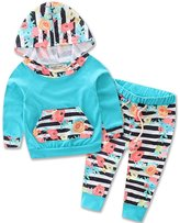 XUNYU Baby Girl Boys Infant Floral Hoodies Tops Outfits Set Striped Long Pants 2pcs