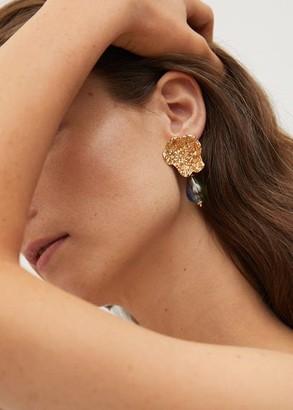 MANGO Crystal tear earrings