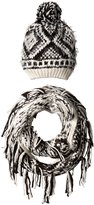 Steve Madden Women's Knit Mixed Yarn Aztec Infinity Muffler and Beanie Set