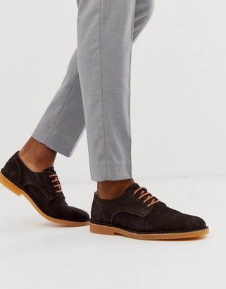 Selected suede shoes in brown