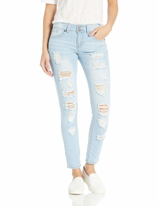 Cover Girl Womens Cute Mid High Rise Waisted Ripped Torn Skinny Blue Juniors Jeans
