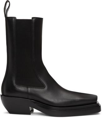 Bottega Veneta Black Lean Mid-Calf Chelsea Boots