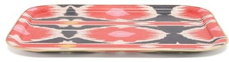 Les Ottomans - Gold-trim Large Ikat-print Tray - Pink Multi